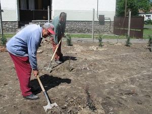 Kozák László és Molnár László, az önkormányzat munkatársai a parkosításon dolgoztak.